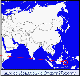 Aire de répartition de Oryzias Woxorae
